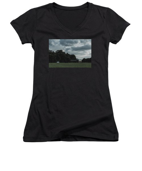 Desaturated Barn Women's V-Neck (Athletic Fit)