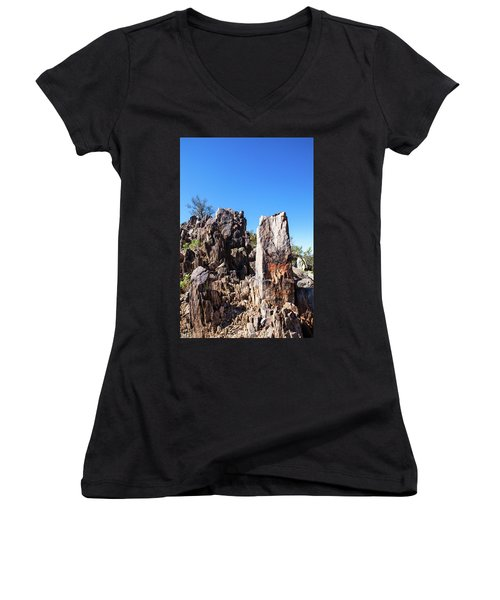 Desert Rocks Women's V-Neck T-Shirt (Junior Cut) by Ed Cilley