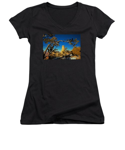 Desert View Watchtower, Grand Canyon National Park, Arizona Women's V-Neck