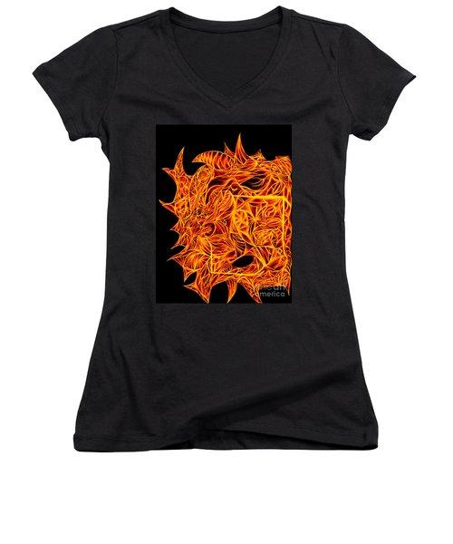 Women's V-Neck T-Shirt (Junior Cut) featuring the drawing Desire Flair by Jamie Lynn