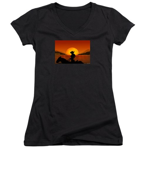 Women's V-Neck T-Shirt (Junior Cut) featuring the digital art Desperado by Bernd Hau