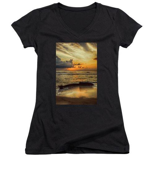 Destruction Of An Outer Banks Shipwreck Women's V-Neck T-Shirt (Junior Cut) by Dan Carmichael