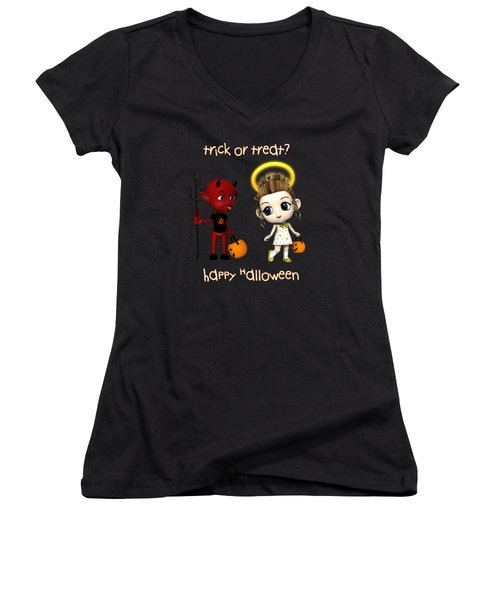 Devil Or Angel Trick Or Treat Women's V-Neck T-Shirt (Junior Cut) by Methune Hively