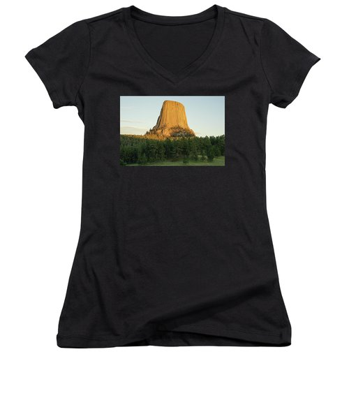 Women's V-Neck featuring the photograph Devils Tower At Sunset by Bill Gabbert