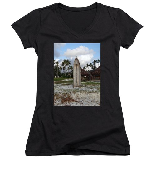 Dhow Wooden Boat As A Beach Shower Women's V-Neck