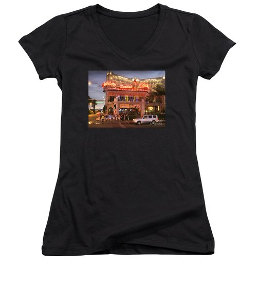 Diablo's Cantina In Las Vegas Women's V-Neck T-Shirt (Junior Cut) by RicardMN Photography