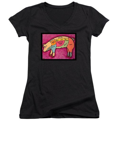 Diagramed Pig Women's V-Neck T-Shirt (Junior Cut)