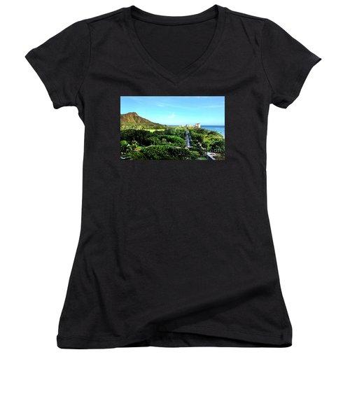 Women's V-Neck T-Shirt (Junior Cut) featuring the photograph Diamond Head by Kristine Merc