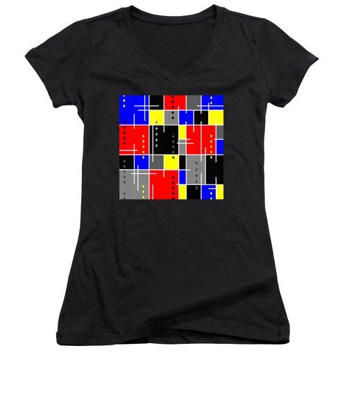 Diamonds And De Stijl Women's V-Neck T-Shirt