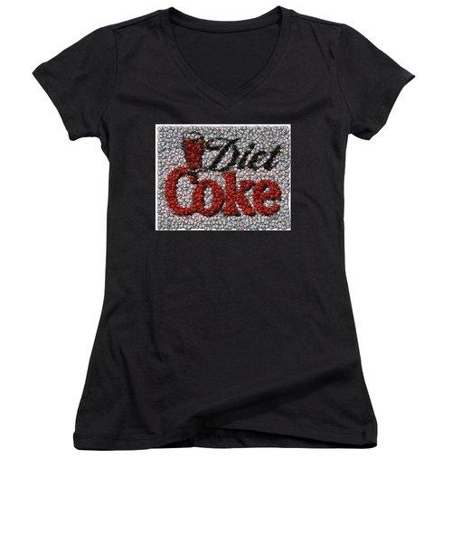Diet Coke Bottle Cap Mosaic Women's V-Neck (Athletic Fit)