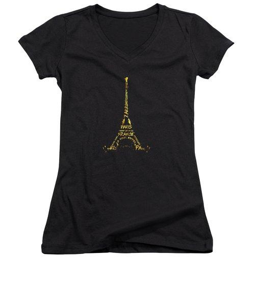 Digital-art Eiffel Tower - Black And Golden Women's V-Neck T-Shirt (Junior Cut) by Melanie Viola