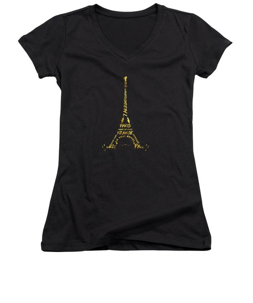 Digital-art Eiffel Tower - Black And Golden Women's V-Neck (Athletic Fit)