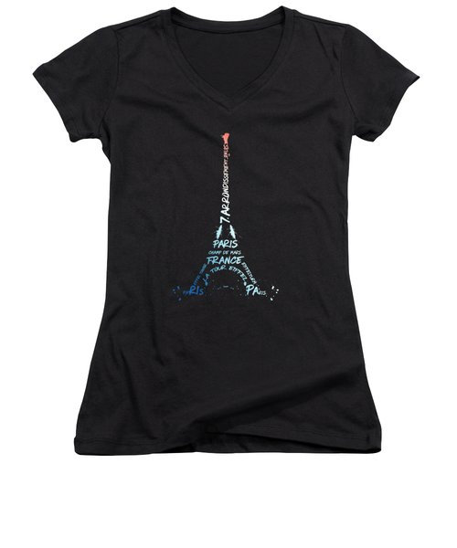Digital-art Eiffel Tower National Colours Women's V-Neck T-Shirt (Junior Cut) by Melanie Viola