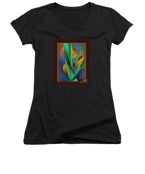 Digital Garden Dreaming Women's V-Neck T-Shirt (Junior Cut) by Leo Symon