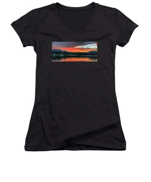 Dillon Marina At Sunset Women's V-Neck T-Shirt