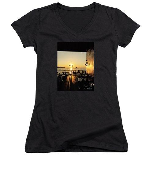 Dinner On The Water Women's V-Neck T-Shirt
