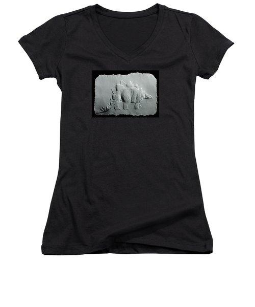Dinosaur Women's V-Neck T-Shirt (Junior Cut) by Suhas Tavkar