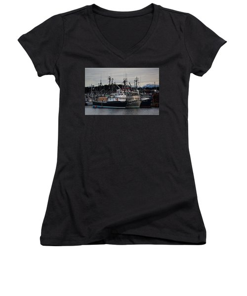 Women's V-Neck T-Shirt (Junior Cut) featuring the photograph Discovery Harbour by Randy Hall