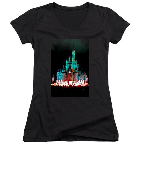 Women's V-Neck T-Shirt (Junior Cut) featuring the photograph Disney World Night by John Haldane