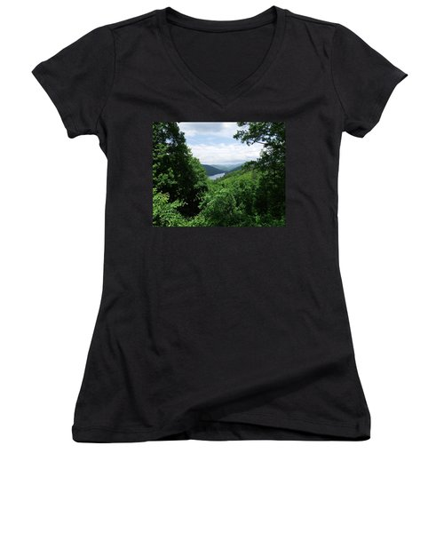 Women's V-Neck T-Shirt (Junior Cut) featuring the photograph Distant Mountains by Cathy Harper