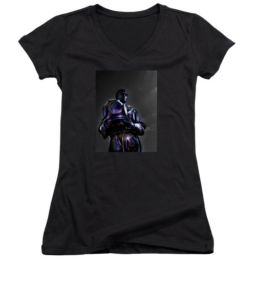 Women's V-Neck T-Shirt (Junior Cut) featuring the photograph Diver by Randy Sylvia
