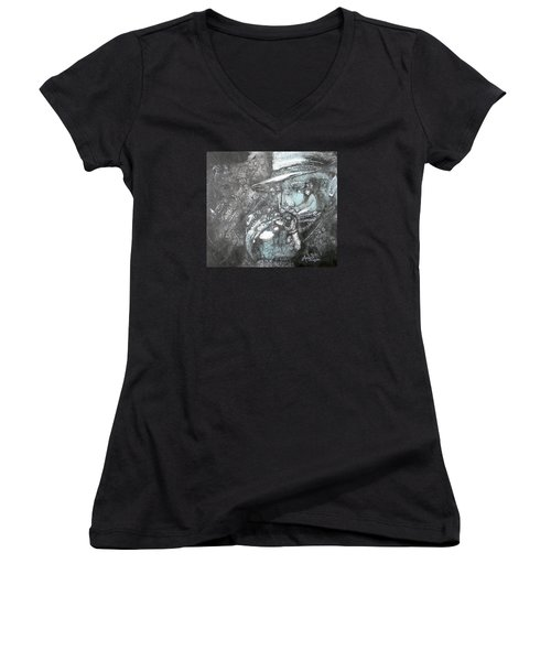 Divine Blues Women's V-Neck T-Shirt (Junior Cut) by Anne-D Mejaki - Art About You productions