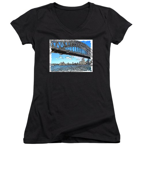 Women's V-Neck T-Shirt (Junior Cut) featuring the photograph Do-00058 Sydney Harbour Bridge And Opera House by Digital Oil