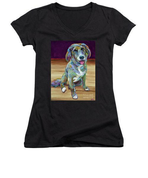 Women's V-Neck T-Shirt (Junior Cut) featuring the painting Doc by Robert Phelps