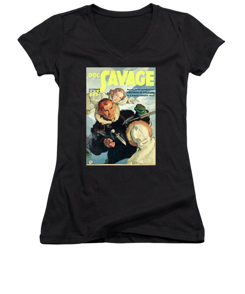 Doc Savage Fortress Of Solitude Women's V-Neck