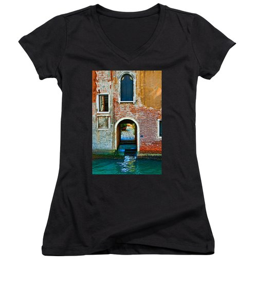 Dock And Windows Women's V-Neck T-Shirt (Junior Cut) by Harry Spitz
