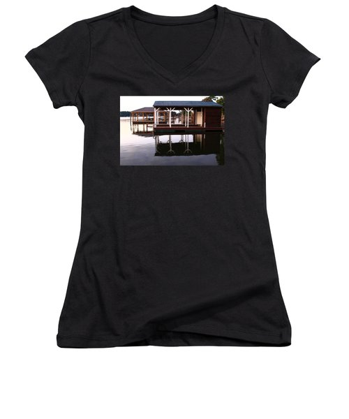 Dock Reflections Women's V-Neck T-Shirt (Junior Cut) by Catie Canetti