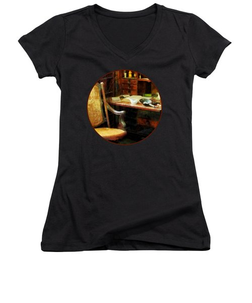 Women's V-Neck T-Shirt (Junior Cut) featuring the photograph Doctor - Doctor's Office by Susan Savad