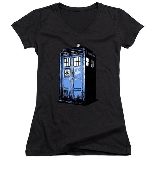Doctor Who Tardis Women's V-Neck T-Shirt (Junior Cut) by Edward Fielding