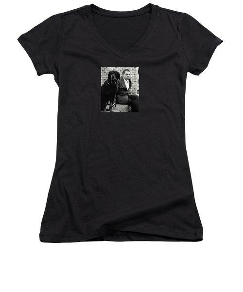 Dog Show 2 Women's V-Neck T-Shirt (Junior Cut) by David Gilbert