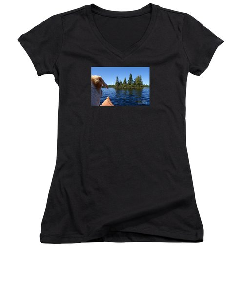 Women's V-Neck T-Shirt (Junior Cut) featuring the photograph Dogs Love Kayaking Too by Sandra Updyke