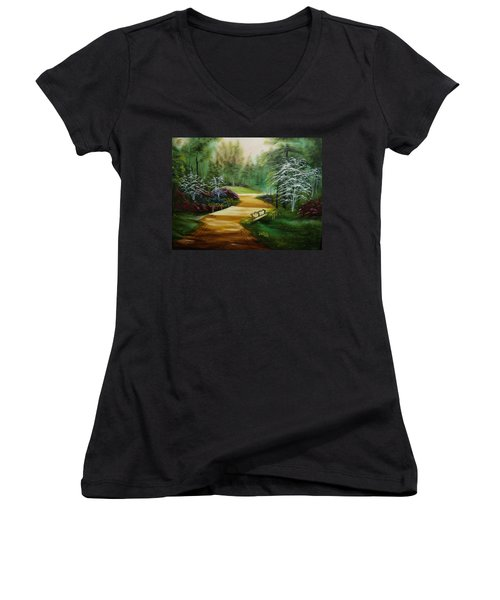 Dogwoods In Springtime Women's V-Neck T-Shirt