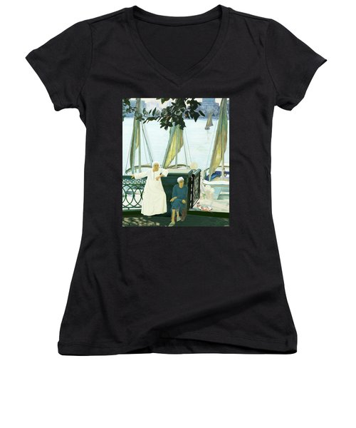 Dok Dok Landing Stage Women's V-Neck T-Shirt (Junior Cut)