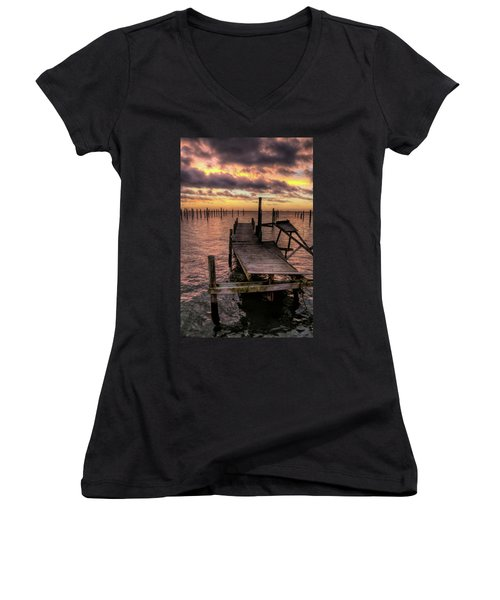Dolphin Dock Women's V-Neck T-Shirt (Junior Cut) by John Loreaux