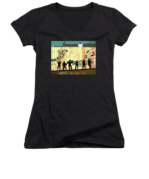 Don't Fence Me In Women's V-Neck T-Shirt (Junior Cut) by Charles Shoup