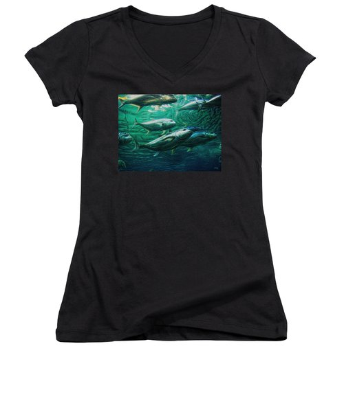 Women's V-Neck T-Shirt (Junior Cut) featuring the photograph Don't Mess With Bluefin Jack by Glenn McCarthy