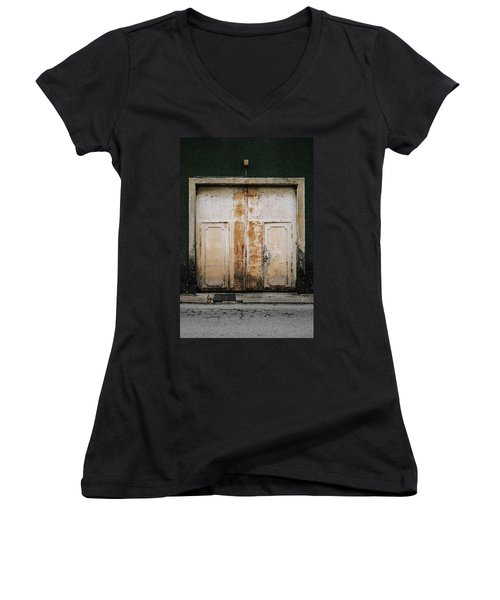 Women's V-Neck T-Shirt (Junior Cut) featuring the photograph Door No 163 by Marco Oliveira