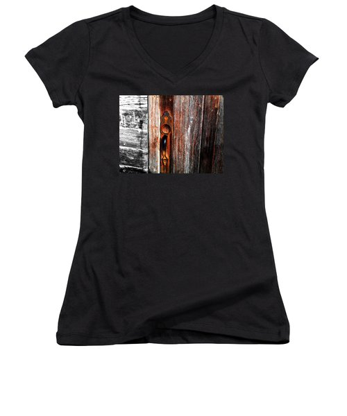 Door To The Past Women's V-Neck T-Shirt (Junior Cut) by Julie Hamilton