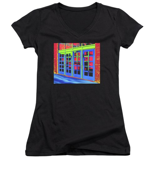 Women's V-Neck T-Shirt featuring the digital art Doorplay by Wendy J St Christopher