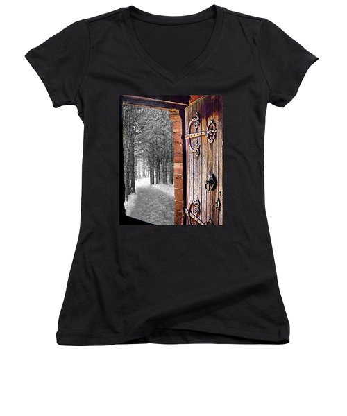 Doorway To Hadrian's Wood Women's V-Neck (Athletic Fit)