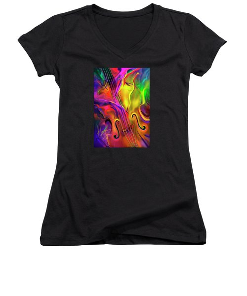 Double Bass Solo Women's V-Neck T-Shirt (Junior Cut) by DC Langer