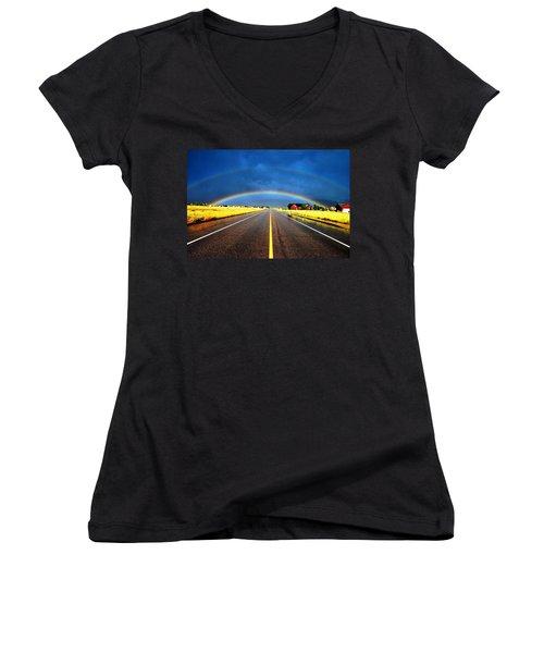 Double Rainbow Over A Road Women's V-Neck T-Shirt (Junior Cut) by Matt Harang
