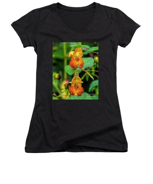 Double Shot Of Jewelweed Women's V-Neck T-Shirt (Junior Cut) by Barbara Bowen