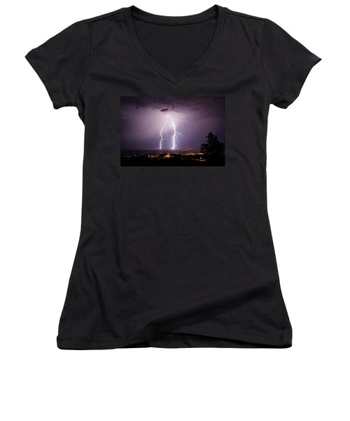 Women's V-Neck T-Shirt (Junior Cut) featuring the photograph Double Trouble by Ron Chilston