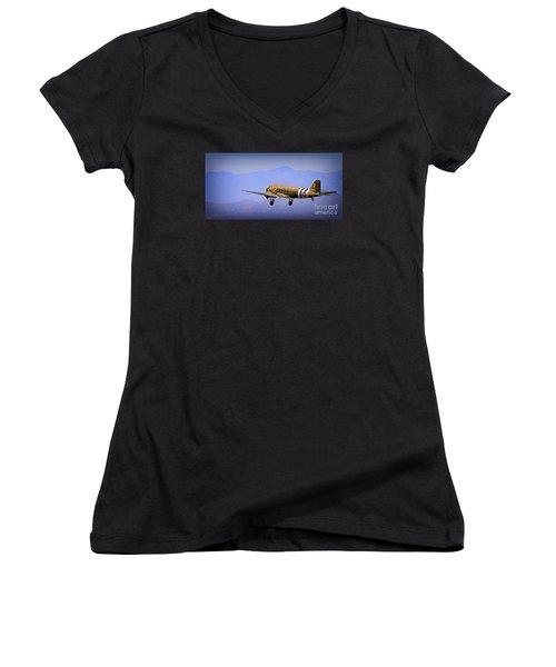 Douglas C-47 Invasion Blues Women's V-Neck T-Shirt