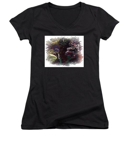 Women's V-Neck T-Shirt (Junior Cut) featuring the mixed media Down In The Valley by Angela L Walker